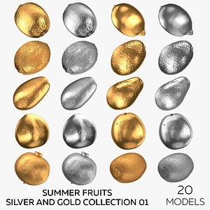 3D Summer Fruits Silver and Gold Collection 01 - 20 models