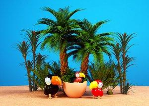 Carton bird parrot 3D model