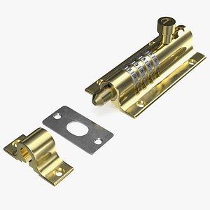 3D Combi Bolt Door Lock Brass