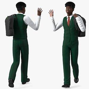 Black Teenager Dark Skin School Uniform Walking model