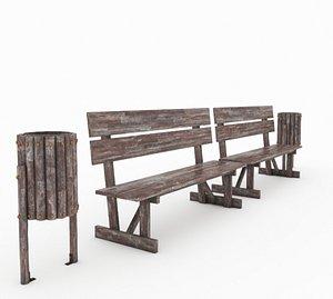3D Garden Wooden Bench