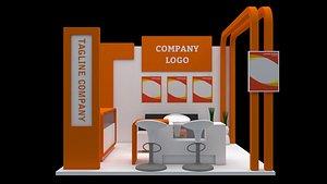 3D model modern booth 3x3