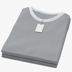 Female Crew Neck Folded Stacked With Tag White and Gray 02 3D model
