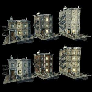 3D Customizable city building Low-poly 3D model Type03