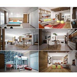Flat Interior Scene 3D model