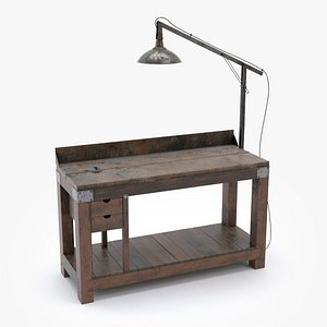 3D old vintage work bench