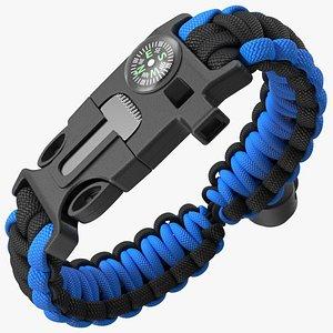 Paracord Survival Bracelet Blue 3D model