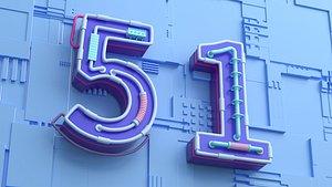 Numbers 3D model