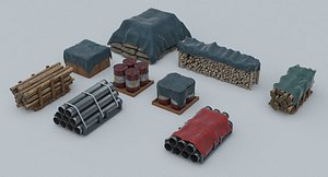 Warehouse - Stored Game Ready PBR Assets model
