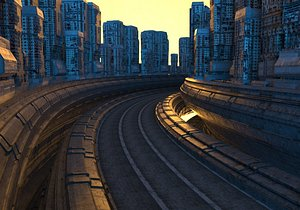 Cyberpunk city streets dusk low faceted game city architecture scene in the future hanging city stea 3D