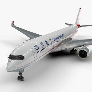 3D a350-900 sichuan airlines l1124 model