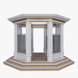 3D Classic oriental gazebo in white marble model