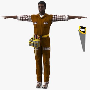 Afro American Carpenter T Pose 3D