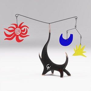 3D Alexander Calder Black Elephant