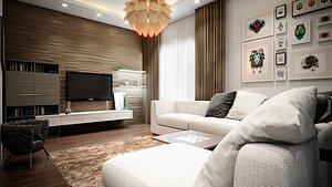 3D Duplex Flat  Interior Scene