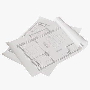 sheet paper 3D model