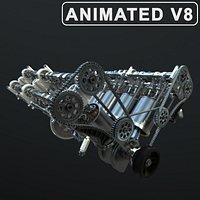 V8 Engine Working Animated