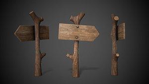 Wooden  Street Sign 3D model