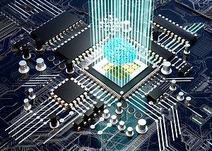 5G human brain brain chip CPU processor technology chip energy block data current data flow electron 3D model
