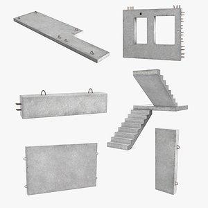 concrete panels 3 precast 3D model