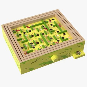 3D Wooden Maze Game with Steel Marbles Painted