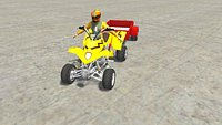 Low Poly Quad Bike With Player  and Trailer 4