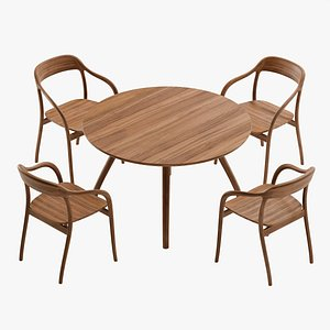 Tako ROUND TABLE And Tako ARMCHAIR by MARUNI 3D model