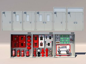 3D Fire hydrant fire extinguisher fire box cabinet fire equipment model