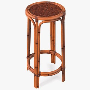 Rattan Backless Counter Stool 3D model
