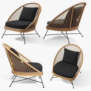 Aeri Slate Gray Lounge Chair 3D model