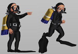 3D diver kid character model