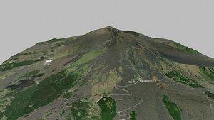 3D Mountain landscape Etna stratovolcano Sicily Italy