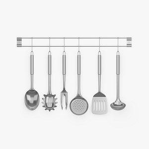 3D kitchen utensils set