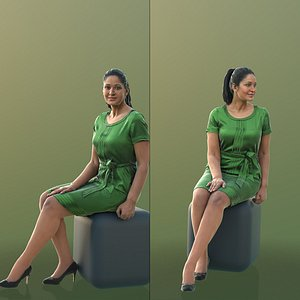 woman green dress model