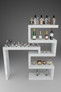 3D whiskey bottles glasses wine