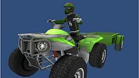 Low Poly Quad Bike With Player andTrailer 6