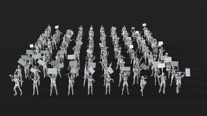 3D 113 Lowpoly People Crowd Pack Set-11 model