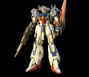 3D Z GUNDAM rigged with realistic texture mayablender model