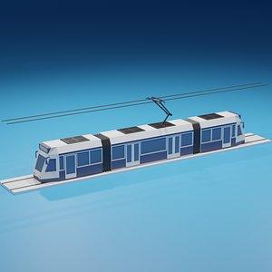 3D LowPoly Cartoon Tram model