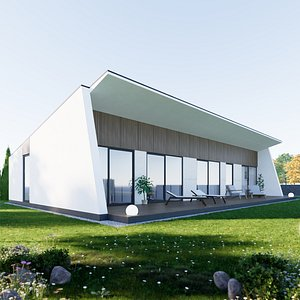 3D model House 6 - Created with fully parametric Revit Families