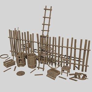 Modular Wooden Props model