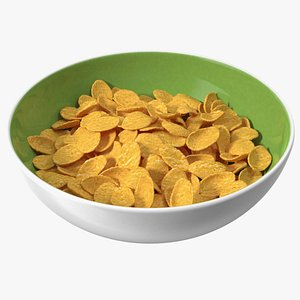 Dry Cereal Corn Flakes on a Plate 3D model