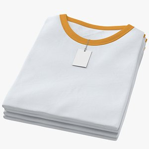 Female Crew Neck Folded Stacked With Tag White and Orange 01 model