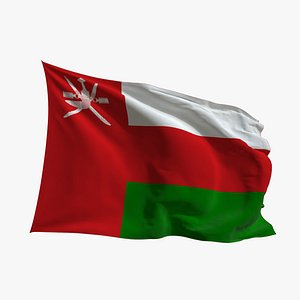 Realistic Animated Flag - Microtexture Rigged - Put your own texture - Def Oman 3D model