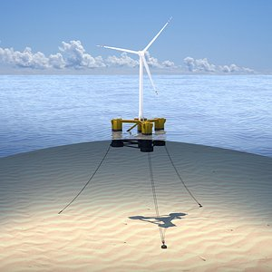 3D wind turbine offshore 2 with anchors