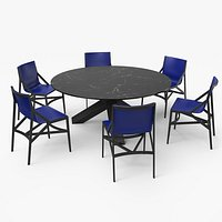 Cassina Dining Table Chair Set Black Marble Blue