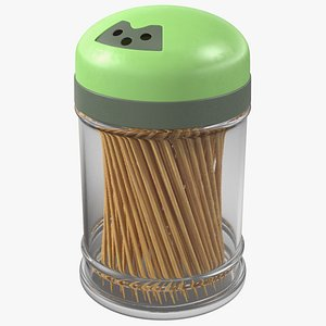 wooden toothpicks plastic container 3D model