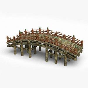 Ancient wooden bridge in Asia 3D model