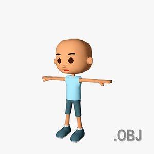 Boy HairLess - OBJ - Low Poly Quad 3D model