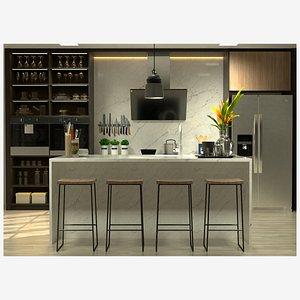 3D Bespoke Kitchen Complete - Cinema 4D Octane plus Formats model